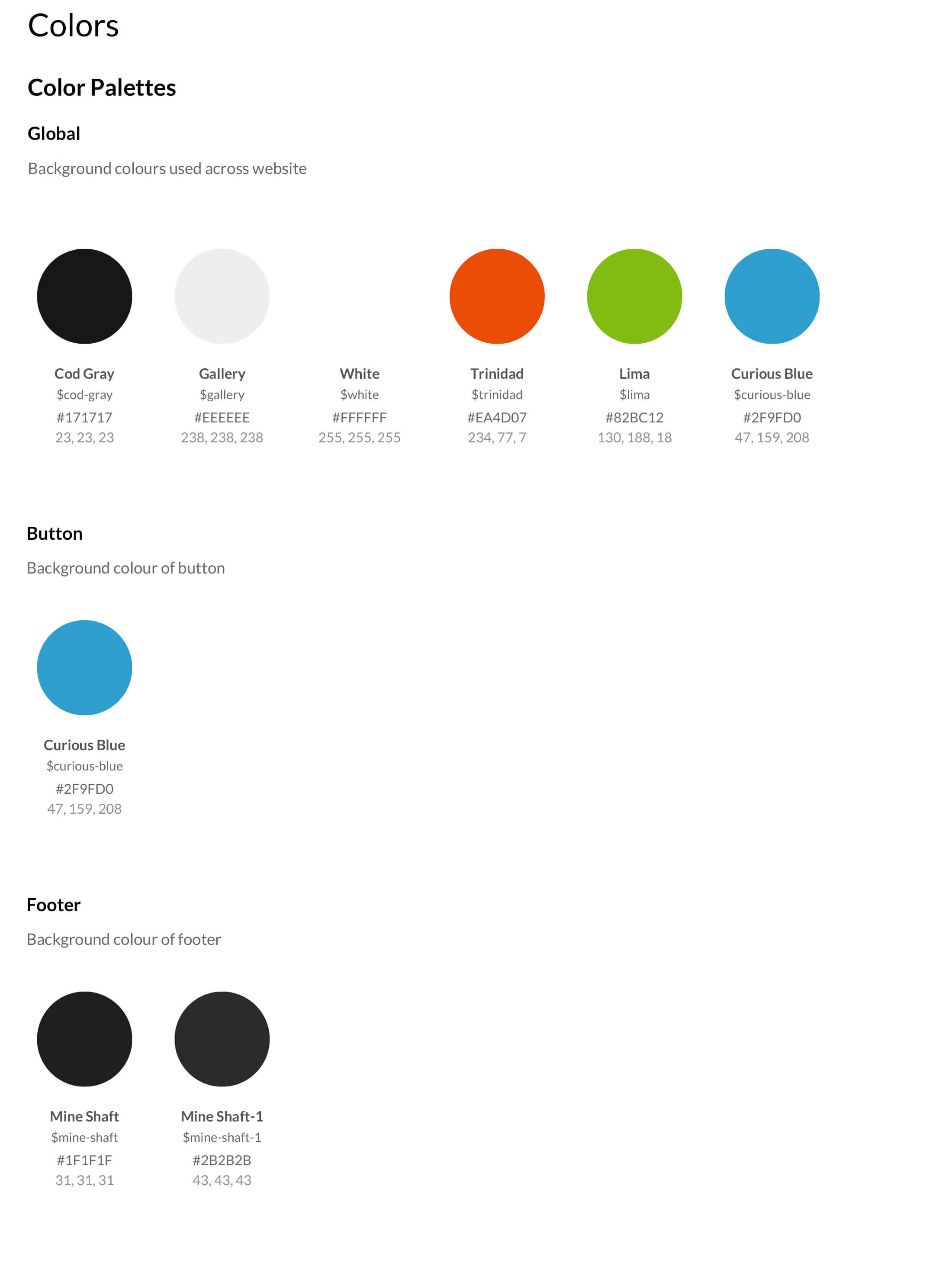 Styleguide colour swatches with HTML code
